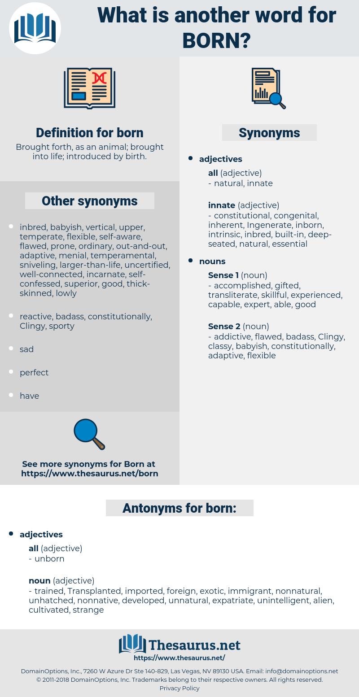 born, synonym born, another word for born, words like born, thesaurus born