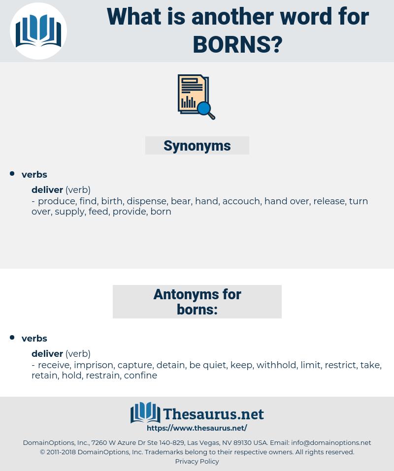 borns, synonym borns, another word for borns, words like borns, thesaurus borns