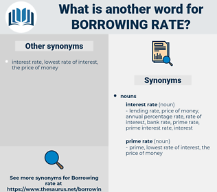 borrowing rate, synonym borrowing rate, another word for borrowing rate, words like borrowing rate, thesaurus borrowing rate