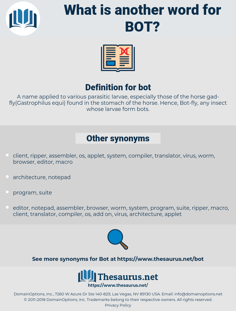 bot, synonym bot, another word for bot, words like bot, thesaurus bot