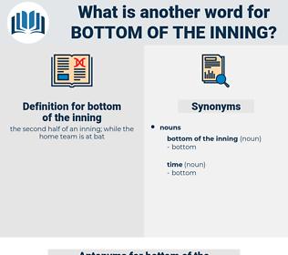 bottom of the inning, synonym bottom of the inning, another word for bottom of the inning, words like bottom of the inning, thesaurus bottom of the inning