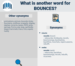 bounces, synonym bounces, another word for bounces, words like bounces, thesaurus bounces