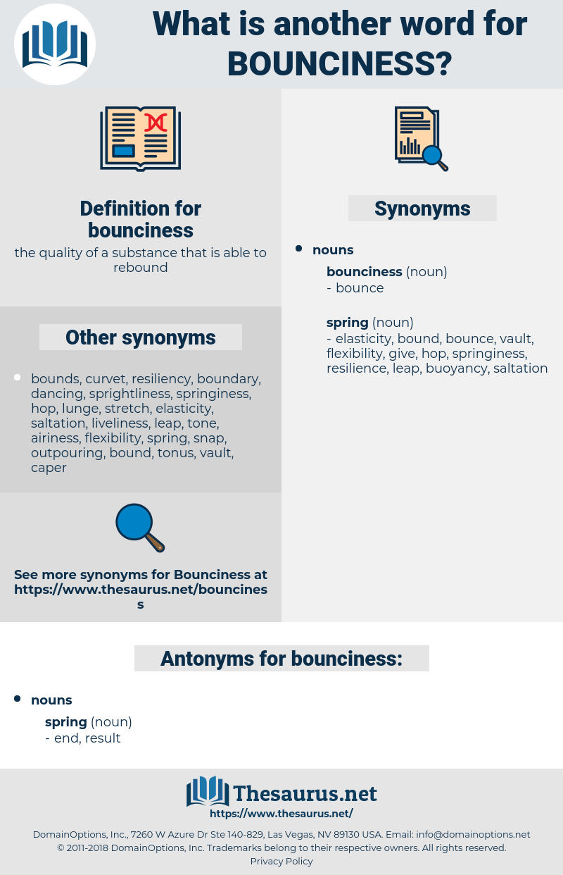 bounciness, synonym bounciness, another word for bounciness, words like bounciness, thesaurus bounciness