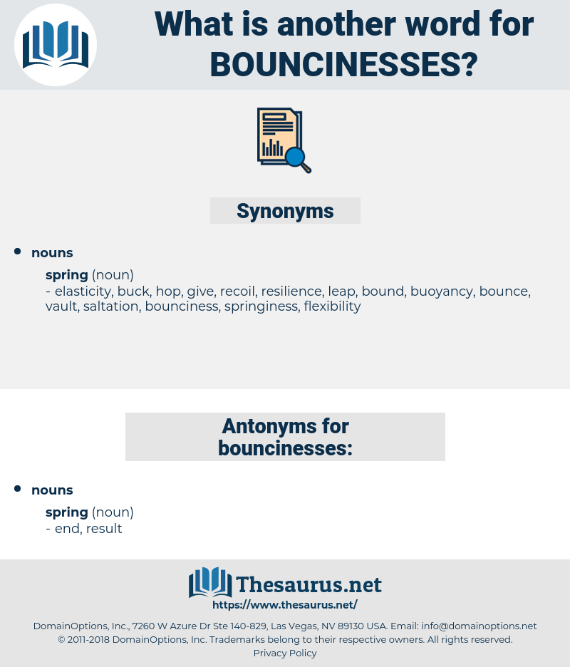 bouncinesses, synonym bouncinesses, another word for bouncinesses, words like bouncinesses, thesaurus bouncinesses