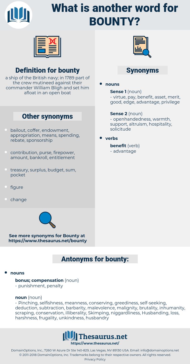 bounty, synonym bounty, another word for bounty, words like bounty, thesaurus bounty