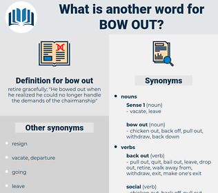 bow out, synonym bow out, another word for bow out, words like bow out, thesaurus bow out