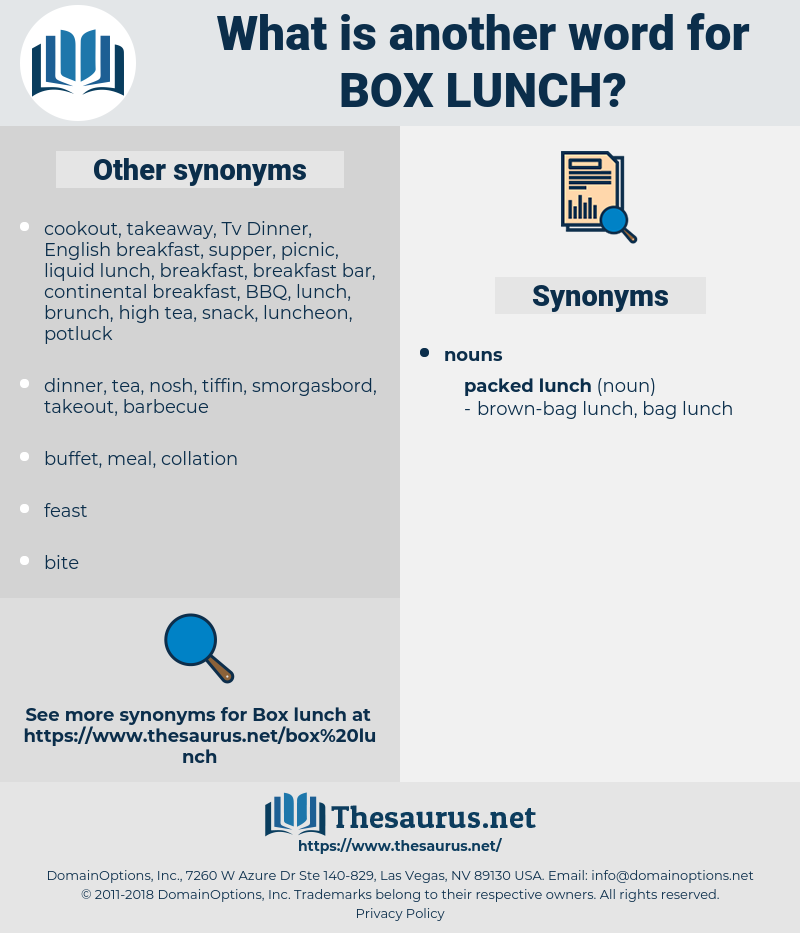 box lunch, synonym box lunch, another word for box lunch, words like box lunch, thesaurus box lunch