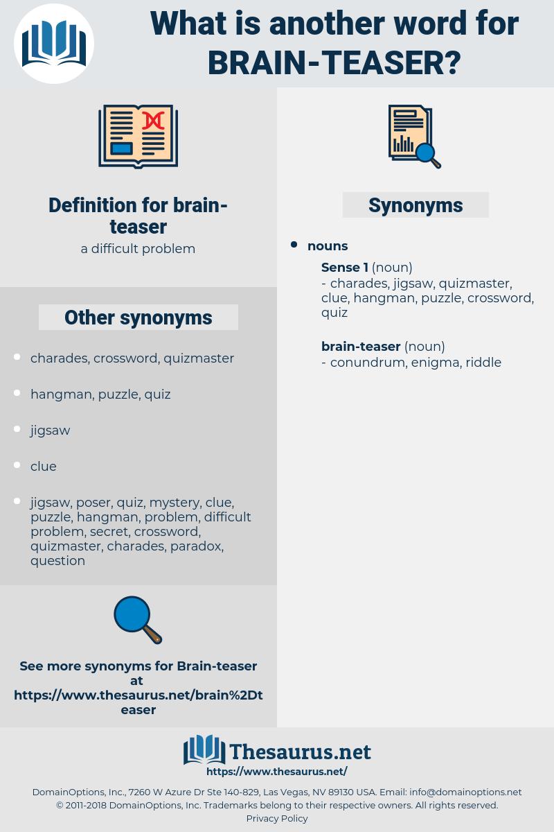 brain teaser, synonym brain teaser, another word for brain teaser, words like brain teaser, thesaurus brain teaser