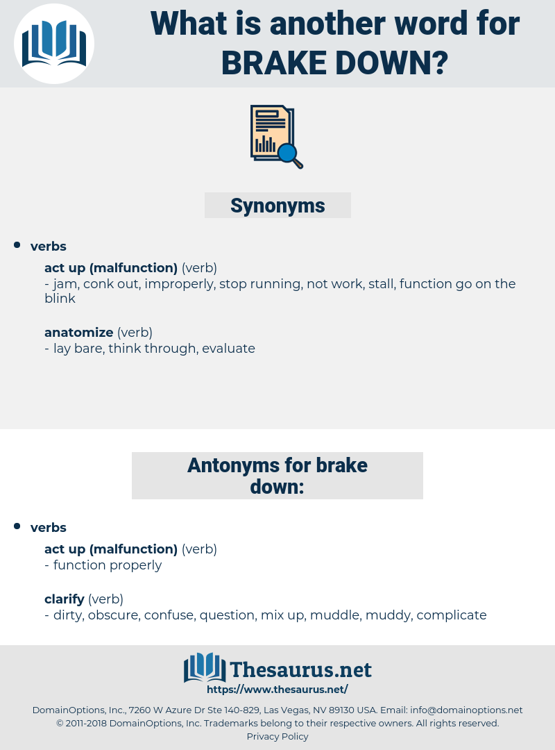 brake down, synonym brake down, another word for brake down, words like brake down, thesaurus brake down