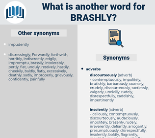 brashly, synonym brashly, another word for brashly, words like brashly, thesaurus brashly