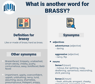 brassy, synonym brassy, another word for brassy, words like brassy, thesaurus brassy