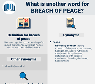 breach of peace, synonym breach of peace, another word for breach of peace, words like breach of peace, thesaurus breach of peace