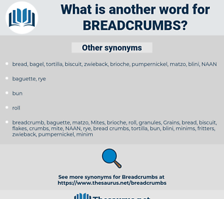 breadcrumbs, synonym breadcrumbs, another word for breadcrumbs, words like breadcrumbs, thesaurus breadcrumbs