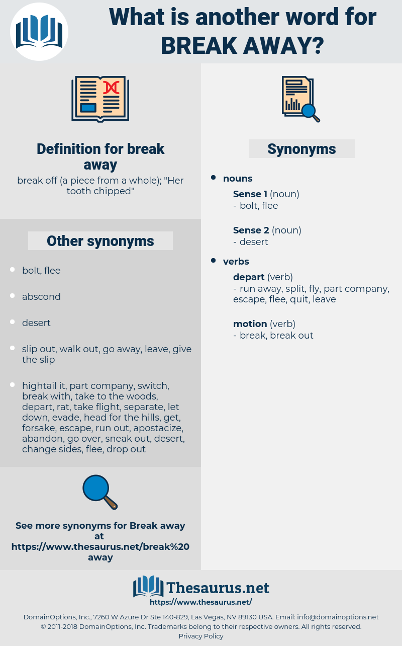 Synonyms For Break Away Thesaurus Net