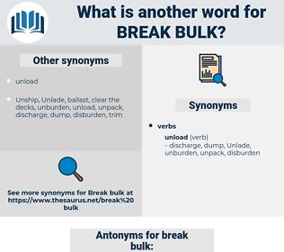 break bulk, synonym break bulk, another word for break bulk, words like break bulk, thesaurus break bulk