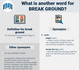 break ground, synonym break ground, another word for break ground, words like break ground, thesaurus break ground