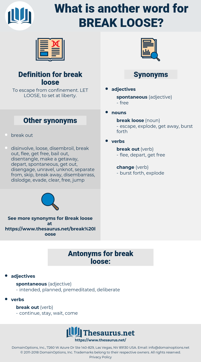 break loose, synonym break loose, another word for break loose, words like break loose, thesaurus break loose