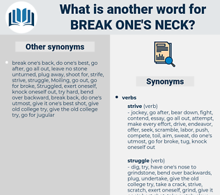 break one's neck, synonym break one's neck, another word for break one's neck, words like break one's neck, thesaurus break one's neck