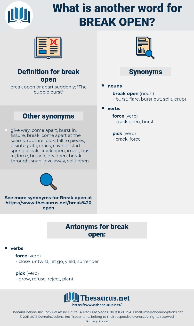 break open, synonym break open, another word for break open, words like break open, thesaurus break open