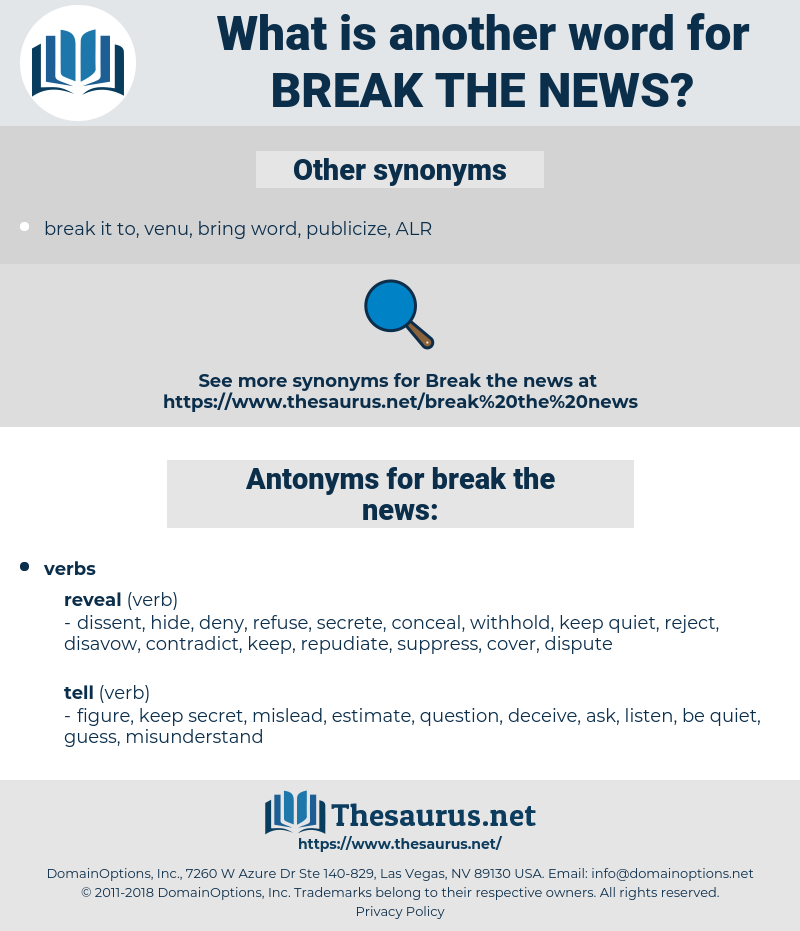 break the news, synonym break the news, another word for break the news, words like break the news, thesaurus break the news