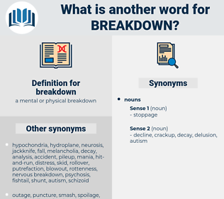 breakdown, synonym breakdown, another word for breakdown, words like breakdown, thesaurus breakdown