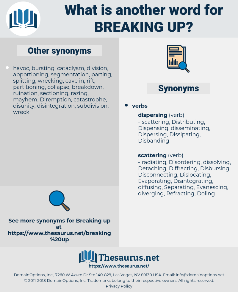 breaking up, synonym breaking up, another word for breaking up, words like breaking up, thesaurus breaking up