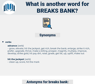 breaks bank, synonym breaks bank, another word for breaks bank, words like breaks bank, thesaurus breaks bank