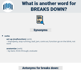breaks down, synonym breaks down, another word for breaks down, words like breaks down, thesaurus breaks down