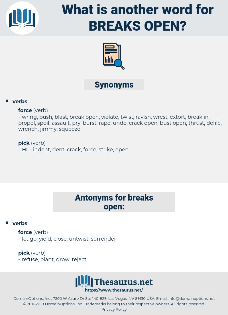 breaks open, synonym breaks open, another word for breaks open, words like breaks open, thesaurus breaks open