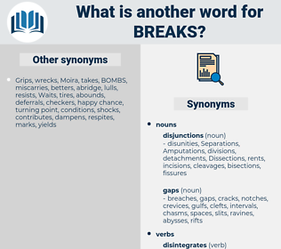 breaks, synonym breaks, another word for breaks, words like breaks, thesaurus breaks