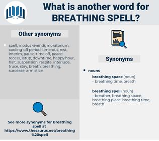 breathing spell, synonym breathing spell, another word for breathing spell, words like breathing spell, thesaurus breathing spell