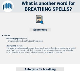 breathing spells, synonym breathing spells, another word for breathing spells, words like breathing spells, thesaurus breathing spells