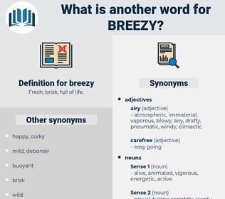 breezy, synonym breezy, another word for breezy, words like breezy, thesaurus breezy