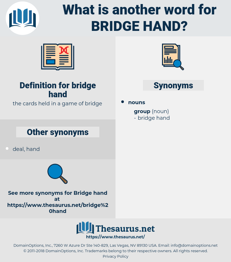 bridge hand, synonym bridge hand, another word for bridge hand, words like bridge hand, thesaurus bridge hand