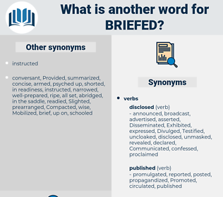 briefed, synonym briefed, another word for briefed, words like briefed, thesaurus briefed