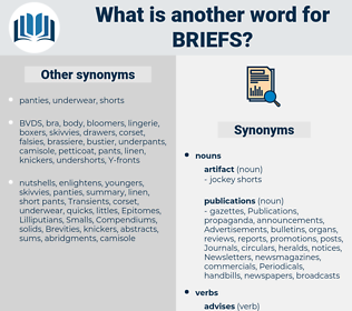 briefs, synonym briefs, another word for briefs, words like briefs, thesaurus briefs
