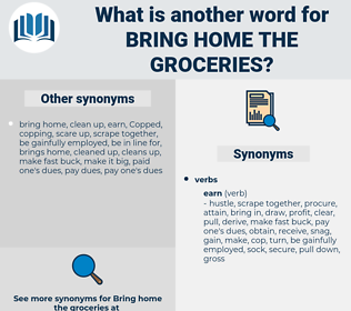bring home the groceries, synonym bring home the groceries, another word for bring home the groceries, words like bring home the groceries, thesaurus bring home the groceries