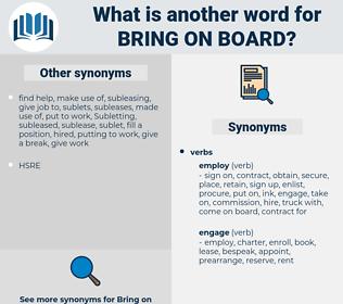 bring on board, synonym bring on board, another word for bring on board, words like bring on board, thesaurus bring on board