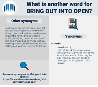 bring out into open, synonym bring out into open, another word for bring out into open, words like bring out into open, thesaurus bring out into open