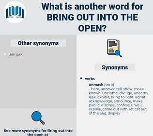 bring out into the open, synonym bring out into the open, another word for bring out into the open, words like bring out into the open, thesaurus bring out into the open