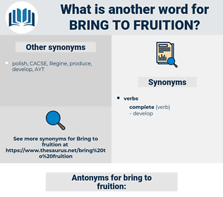 bring to fruition, synonym bring to fruition, another word for bring to fruition, words like bring to fruition, thesaurus bring to fruition