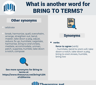 bring to terms, synonym bring to terms, another word for bring to terms, words like bring to terms, thesaurus bring to terms