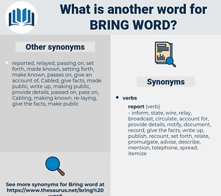 bring word, synonym bring word, another word for bring word, words like bring word, thesaurus bring word