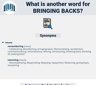 bringing backs, synonym bringing backs, another word for bringing backs, words like bringing backs, thesaurus bringing backs