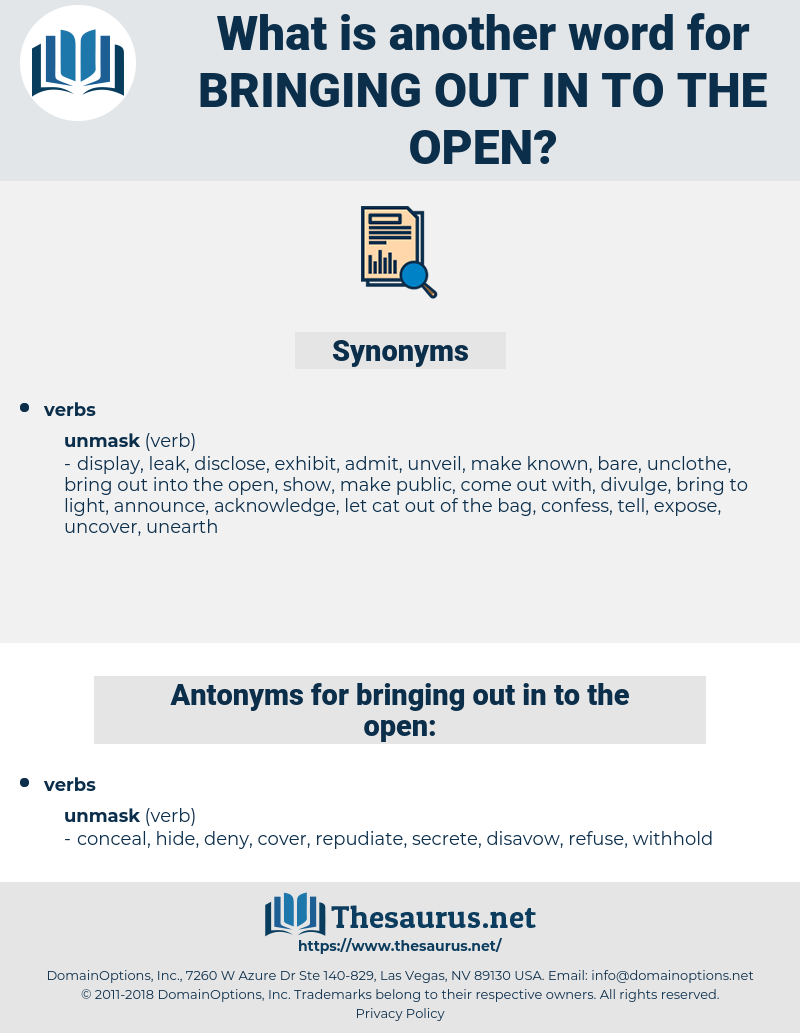 bringing out in to the open, synonym bringing out in to the open, another word for bringing out in to the open, words like bringing out in to the open, thesaurus bringing out in to the open