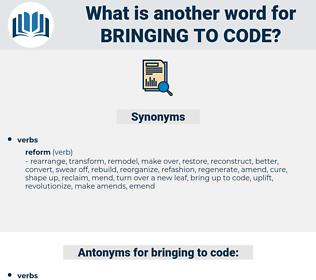 bringing to code, synonym bringing to code, another word for bringing to code, words like bringing to code, thesaurus bringing to code