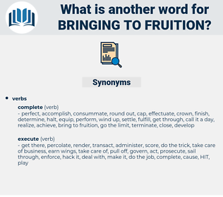 bringing to fruition, synonym bringing to fruition, another word for bringing to fruition, words like bringing to fruition, thesaurus bringing to fruition