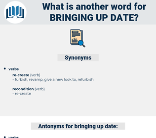 bringing up date, synonym bringing up date, another word for bringing up date, words like bringing up date, thesaurus bringing up date