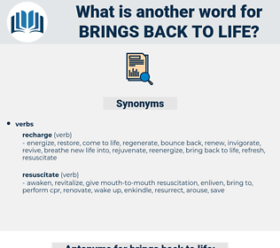 brings back to life, synonym brings back to life, another word for brings back to life, words like brings back to life, thesaurus brings back to life