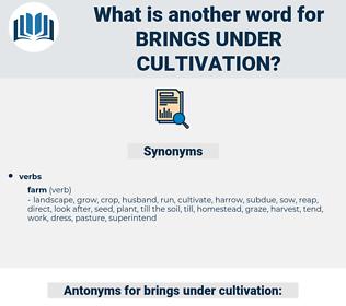 brings under cultivation, synonym brings under cultivation, another word for brings under cultivation, words like brings under cultivation, thesaurus brings under cultivation